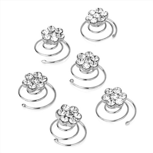 Crystal Flower Design Silver Hair Jewels Swirl Twist Coils